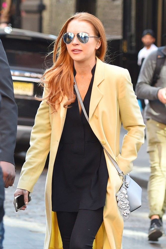 Lindsay Lohan in Yellow Coat out in New York