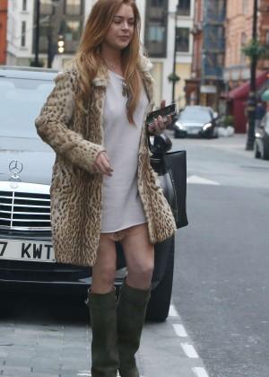 Lindsay Lohan in Mini Dress Leaving The Conaught Hotel in London