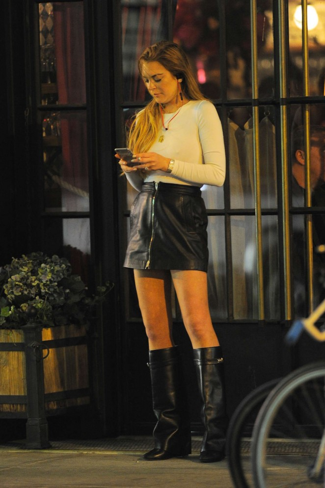 Lindsay Lohan in Leather Mini Skirt Out in NY