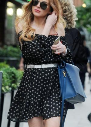 Lindsay Lohan in Black Mini Dress Out in London