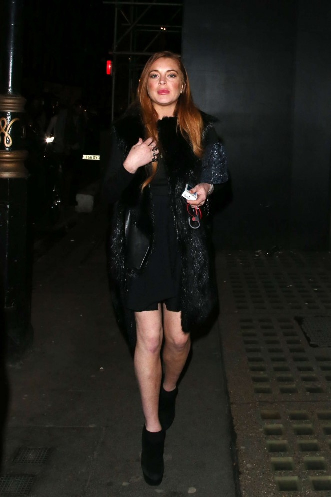 Lindsay Lohan in Black Mini Dress -03