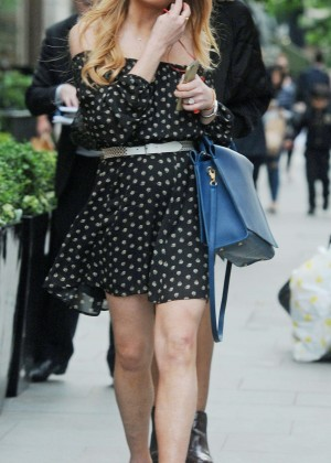Lindsay Lohan in Black Mini Dress Out in London
