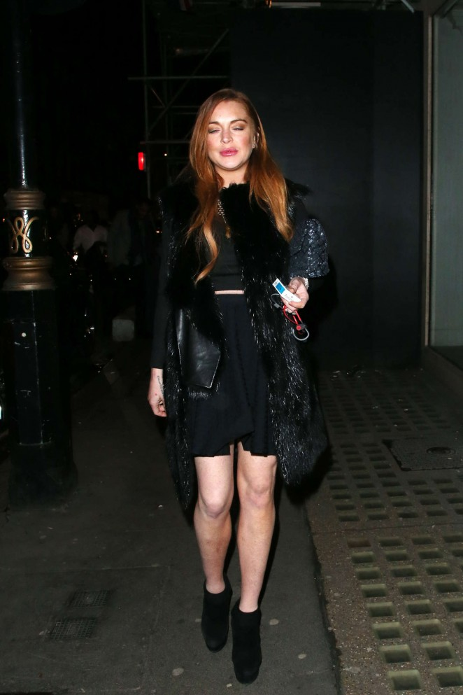 Lindsay Lohan in Black Mini Dress -16
