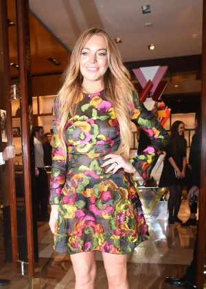 Lindsay Lohan in Short Dress Out in London