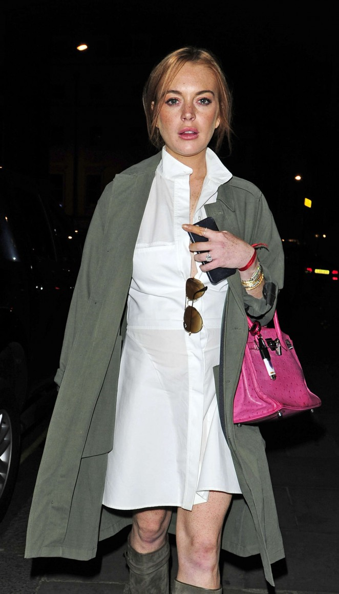 Lindsay Lohan in White Mini Dress out in London