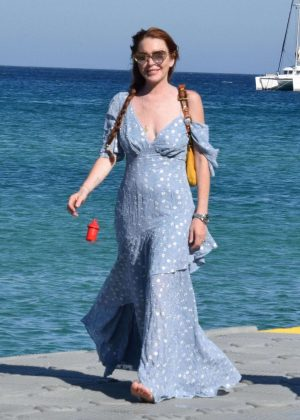 Lindsay Lohan out in Mykonos