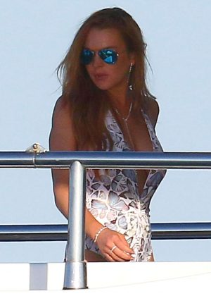 Lindsay Lohan - Swimsuit Candids in Cannes