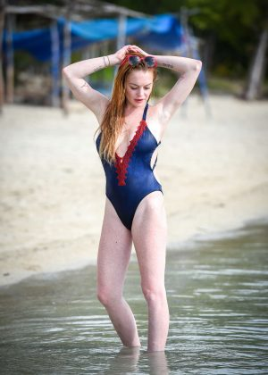 Lindsay Lohan - Wearing a swimsuit in Mauritius