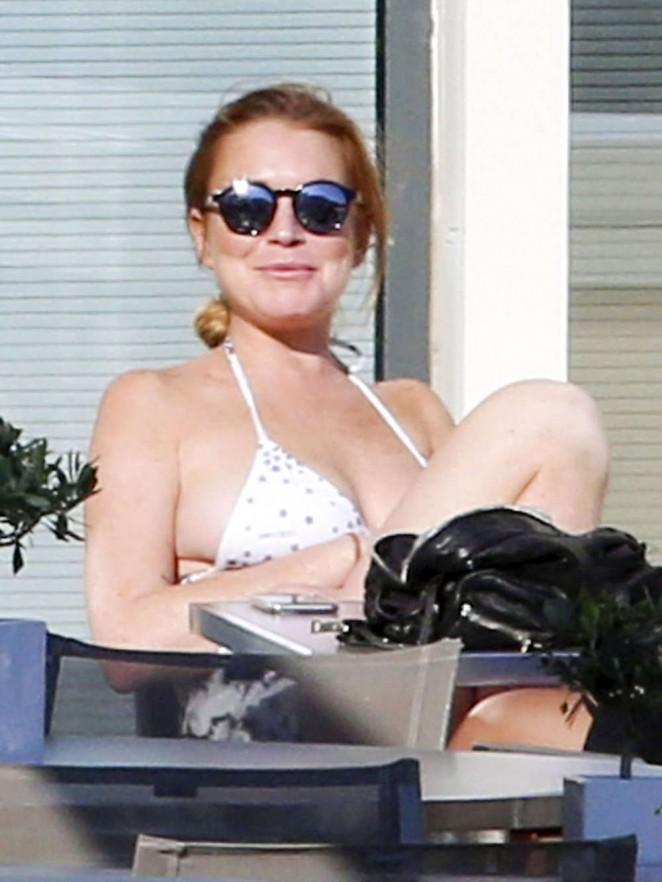 Lindsay Lohan in Bikini on French Riviera