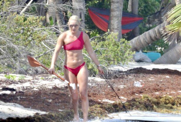 Lindsey Vonn - In a red bikini paddle board in Tulum