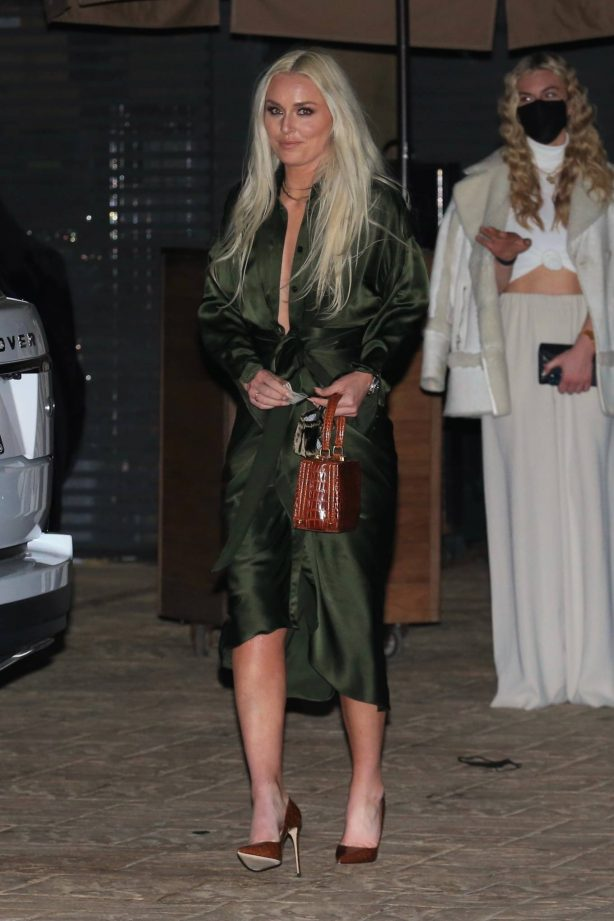 Lindsey Vonn - In an olive green gown seen leaving dinner at Nobu in Malibu