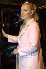 Lindsey Vonn in Pink Coat - Leaves Craig's in West Hollywood