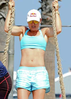 Lindsey Vonn in Shorts and Sports Bra works out in LA