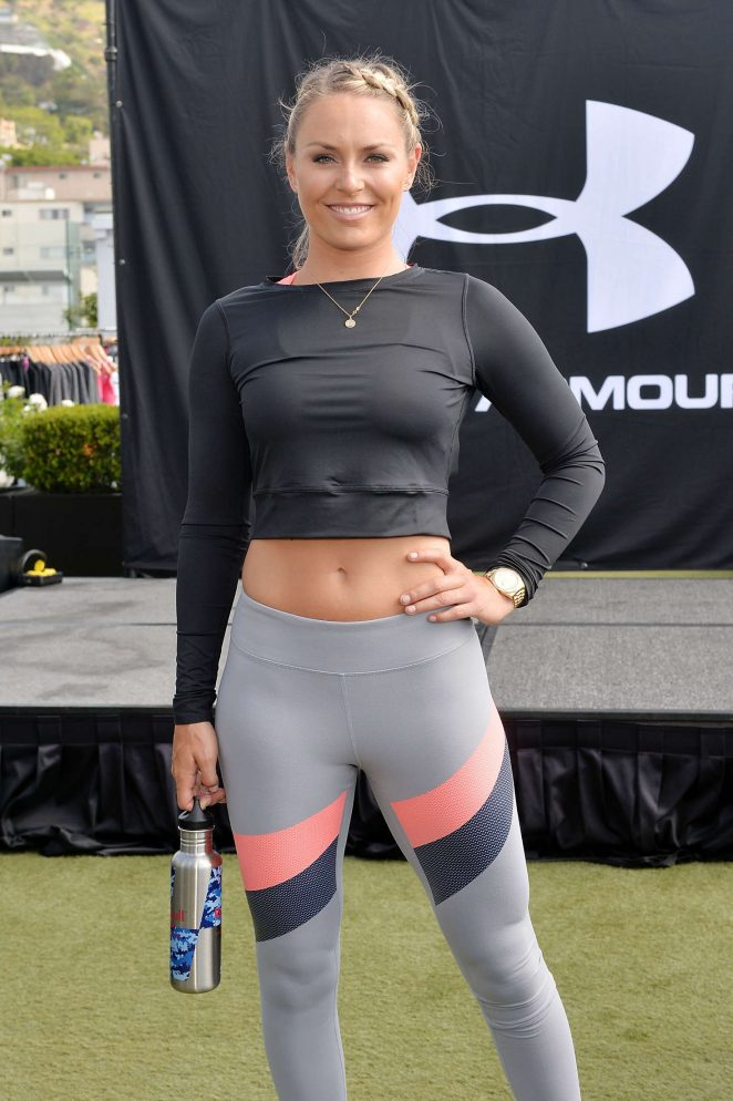 Lindsey Vonn - Under Armour celebrates debut of UA Crossback Bra at a workout in LA