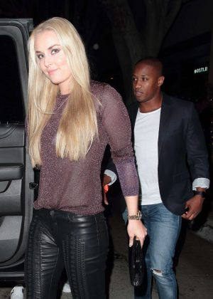 Lindsey Vonn with her boyfriend at Madeo Restaurant in Hollywood
