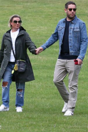 Lisa Armstrong - With new boyfriend in a park in West London