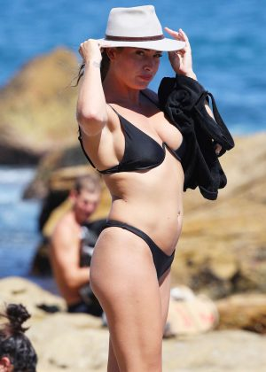 Lisa Clark in Black Bikini at Bondi Beach