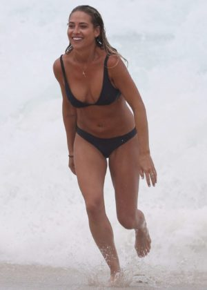 Lisa Clark in Black Bikini on a beach in Sydney Pics 2 of 35