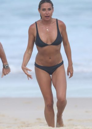Lisa Clark in Black Bikini on a beach in Sydney Pic 5 of 35