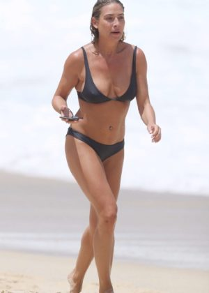Lisa Clark in Black Bikini on a beach in Sydney Pic 17 of 35
