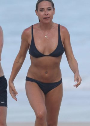 Lisa Clark in Black Bikini on a beach in Sydney