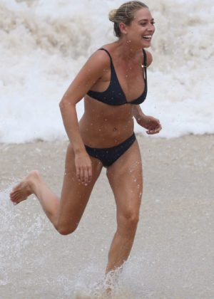 Lisa Clark in Black Bikini on a beach in Sydney Pic 15 of 35
