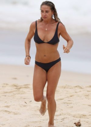 Lisa Clark in Black Bikini on a beach in Sydney Pic 13 of 35
