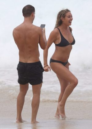 Lisa Clark in Black Bikini on a beach in Sydney Pic 6 of 35