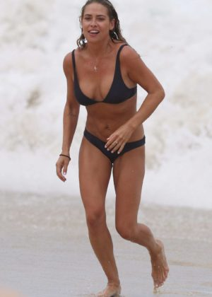 Lisa Clark in Black Bikini on a beach in Sydney Pic 9 of 35