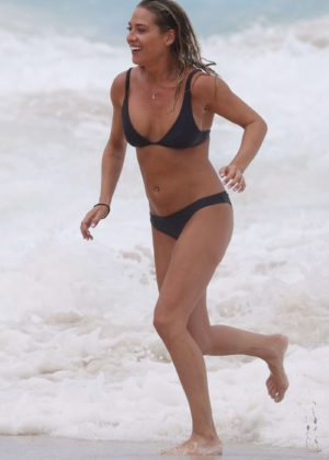 Lisa Clark in Black Bikini on a beach in Sydney Pic 24 of 35