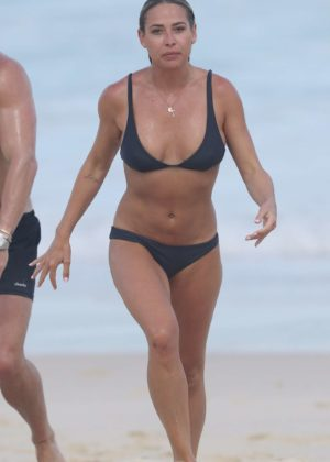 Lisa Clark in Black Bikini on a beach in Sydney Pic 11 of 35