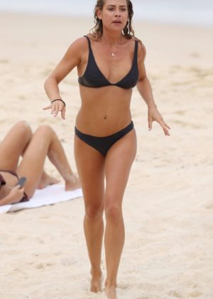 Lisa Clark in Black Bikini on a beach in Sydney Pic 10 of 35