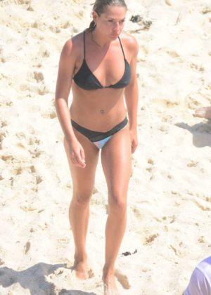 Lisa Clark in Black Bikini on the beach in Tamarama