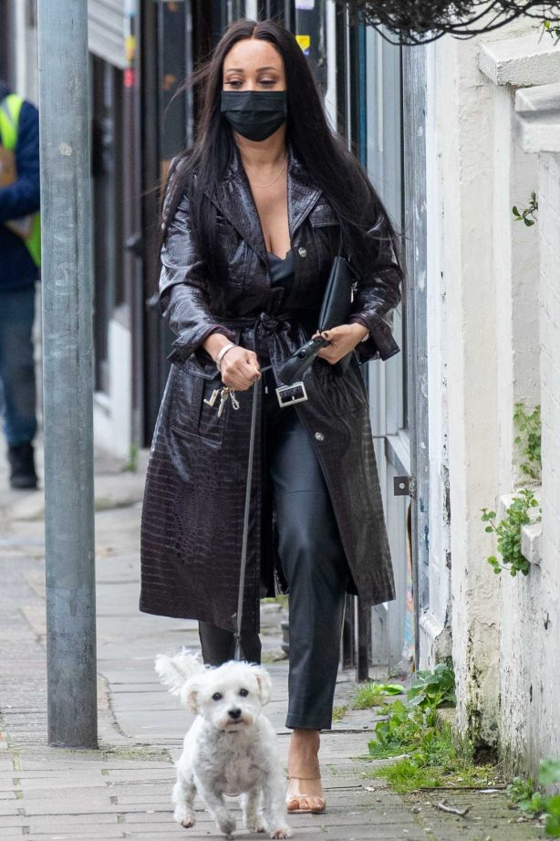 Lisa Maffia in Leather with her dog out in London