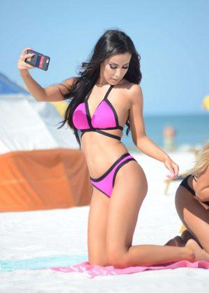 Lisa Opie in Pink Bikini on Miami Beach