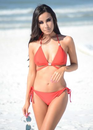 Lisa Opie in Red Bikini in Miami