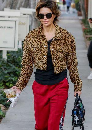 Lisa Rinna in Animal Print Coat in LA