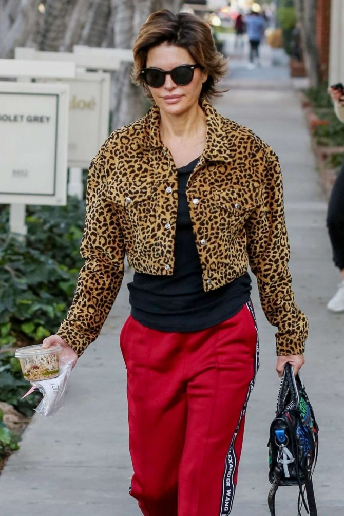Lisa Rinna in Animal Print Coat in LA