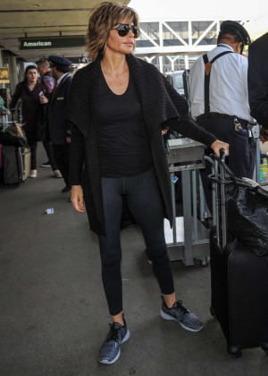 Lisa Rinna in Tights at LAX Airport in Los Angeles