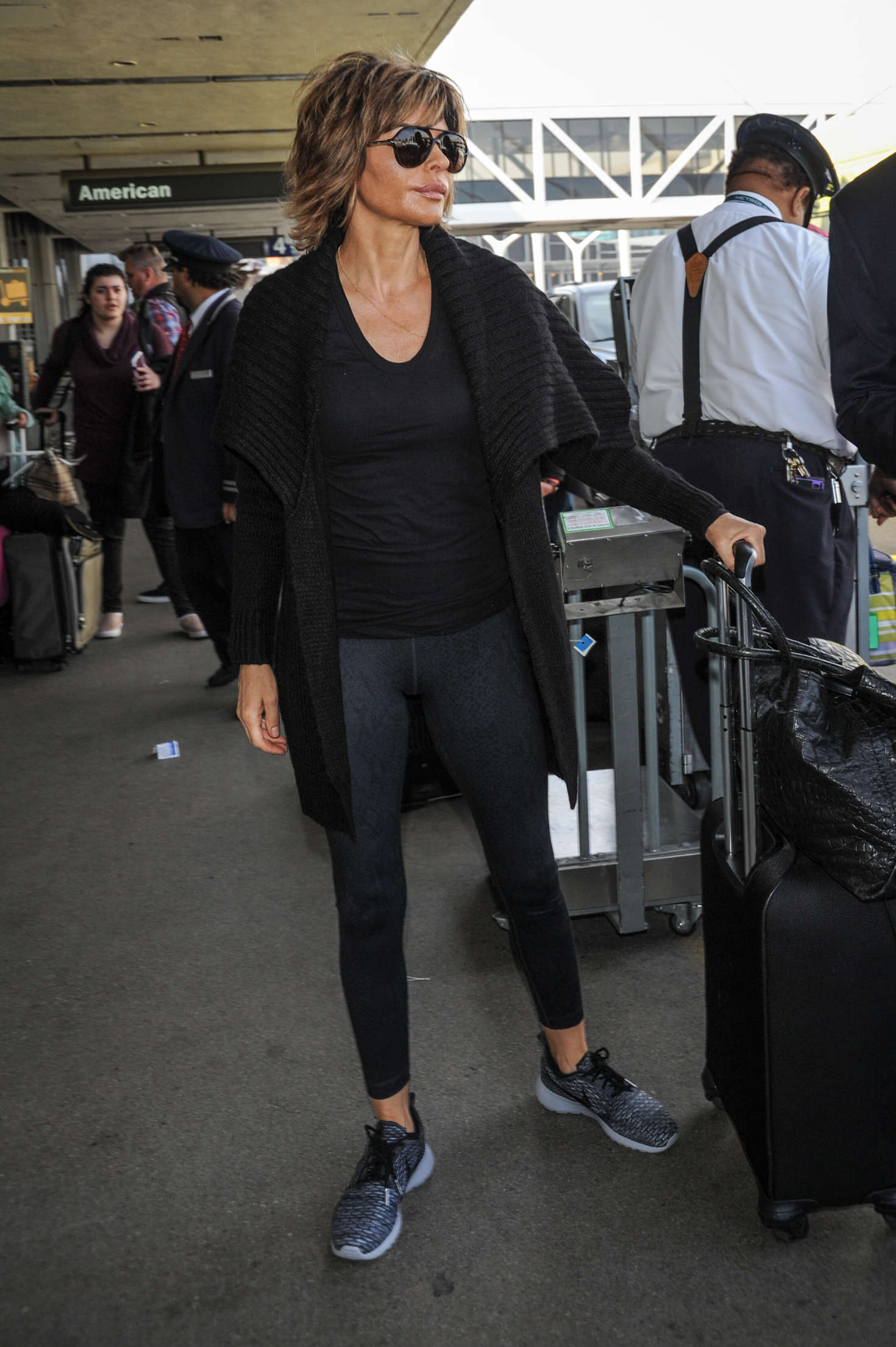 Lisa Rinna In Tights At Lax Airport In Los Angeles Gotceleb