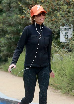 Lisa Rinna in Tights hiking in Los Angeles