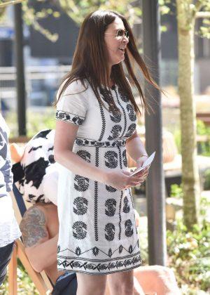 Gemma Atkinson Dog Walking Picture Denim Shorts