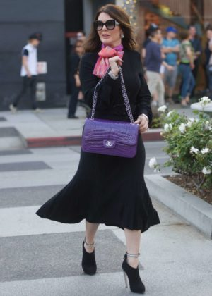 Lisa Vanderpump in Long Black Dress - Shopping in Beverly Hills