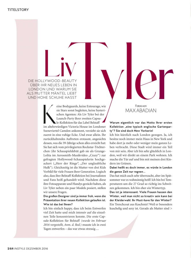 Liv Tyler:  InStyle Germany 2016 -01