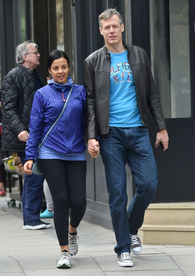 Liz Bonnin with her partner out in London