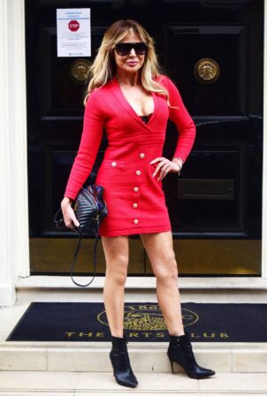 Lizzie Cundy - In a red mini dress at the Arts Club in Central London