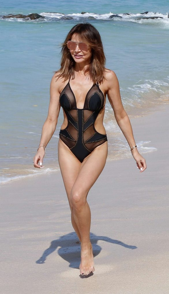 Lizzie Cundy - In black swimsuit on the beach Barbados