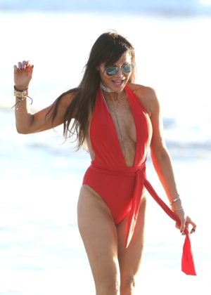 Lizzie Cundy in Red and Black Swimsuit in Miami