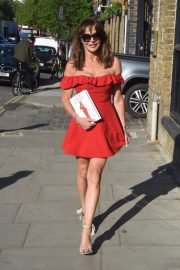 Lizzie Cundy in Red Dress - Out in London