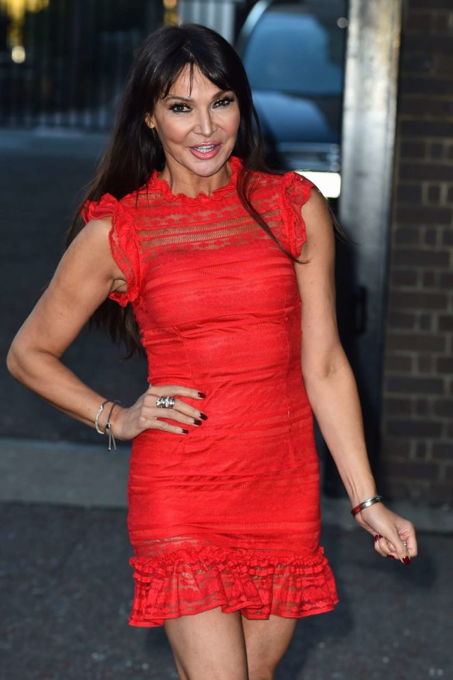 Lizzie Cundy in Red Mini Dress at the ITV Studios in London